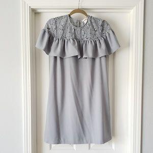 Gray Lace Top Ruffled Shift Dress